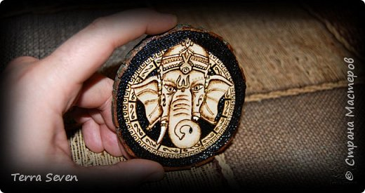 """""""Ganesha"""" Pyrography and Design by T7 фото 3"""