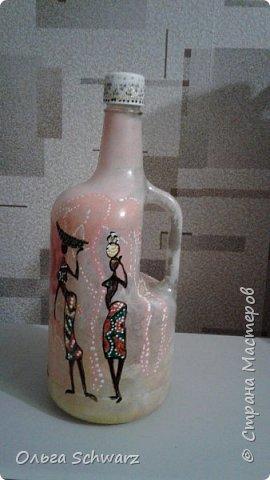 Добрый вечер,жители и гости страны!  Вот такая бутылка у меня родилась. Немного Африки в отдельно взятой квартире. фото 2