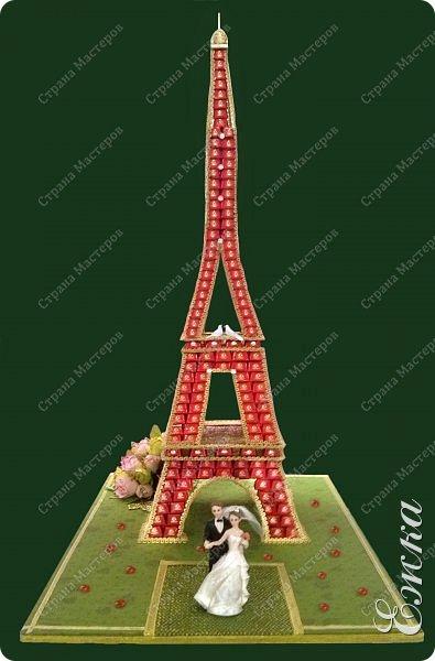 Работа сделана на заказ, в подарок на  русско-французскую свадьбу Высота башни 107 см, около 5 кг конфет фото 1