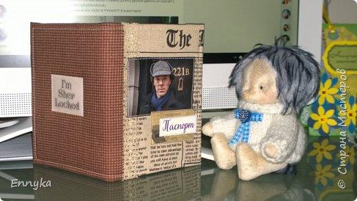 обложка на паспорт.  Любимый Шерлок!  и фантастический   ежик Боня!!!!!!  фото 1