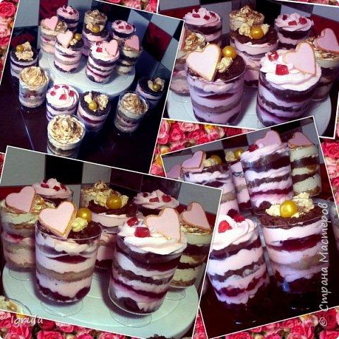 """Всем добра и счастья. Хочу поделиться фотками нового для нашей страны десерта. Называется он трайфл (trifle), что в переводе с английского означает пустяк, мелочь. Трайфл- это по сути торт в стакане. Очень вкусный,относительно легкий в приготовлении и красивый десерт. Всегда эффектно смотрится на праздничном столе и так полюбился моим клиентам, что теперь я делаю его отдельно на заказ (раньше делала только при оформлении сладкого стола). Вес такого стаканчика у меня 160-200 гр., что примерно равно по весу среднестатистическому кусочку торта. По вкусу же такой """"тортик"""" получается более сочным нежели обычный, из за бОльшего кол-ва крема + дополнительные прослойки( желе, ягоды-фрукты, мягкий шоколад, карамель и пр.) делают его привлекательнее, как на вид так и на вкус. Ниже будут фото с описанием содержимого стаканчика. фото 1"""