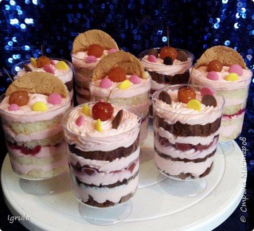 """Всем добра и счастья. Хочу поделиться фотками нового для нашей страны десерта. Называется он трайфл (trifle), что в переводе с английского означает пустяк, мелочь. Трайфл- это по сути торт в стакане. Очень вкусный,относительно легкий в приготовлении и красивый десерт. Всегда эффектно смотрится на праздничном столе и так полюбился моим клиентам, что теперь я делаю его отдельно на заказ (раньше делала только при оформлении сладкого стола). Вес такого стаканчика у меня 160-200 гр., что примерно равно по весу среднестатистическому кусочку торта. По вкусу же такой """"тортик"""" получается более сочным нежели обычный, из за бОльшего кол-ва крема + дополнительные прослойки( желе, ягоды-фрукты, мягкий шоколад, карамель и пр.) делают его привлекательнее, как на вид так и на вкус. Ниже будут фото с описанием содержимого стаканчика. фото 10"""