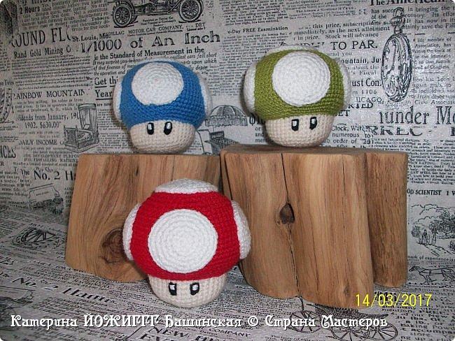 Мухоморчики Super Mario world.  Связаны по мастер-классу от Aradiya Toys.  Пряжа - 100% акрил  Kartopi kristal.  Наполнитель - холлафайбер.   Рост 7 см.  фото 2