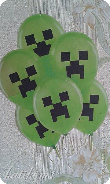 Сын очень любит игру  майкрафт,  вот перерыла весь интернет, в поисках атрибутов для оформления. Муж поработал в фотошопе, и вот наши труды)))) фото 4