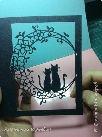 Всем привет! Март продолжается! Вашему вниманию новая открытка) Эскиз выполнен по рисунку из интернета, изменён и доработан ( вместо одной кошки, стала парочка, и свой орнамент) фото 4