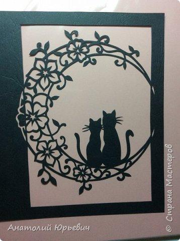 Всем привет! Март продолжается! Вашему вниманию новая открытка) Эскиз выполнен по рисунку из интернета, изменён и доработан ( вместо одной кошки, стала парочка, и свой орнамент) фото 2
