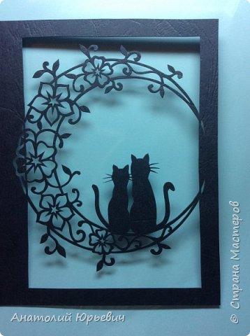 Всем привет! Март продолжается! Вашему вниманию новая открытка) Эскиз выполнен по рисунку из интернета, изменён и доработан ( вместо одной кошки, стала парочка, и свой орнамент) фото 3