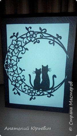 Всем привет! Март продолжается! Вашему вниманию новая открытка) Эскиз выполнен по рисунку из интернета, изменён и доработан ( вместо одной кошки, стала парочка, и свой орнамент) фото 1