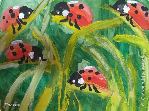 Как,иногда, приятно зимой,ранней весной вспомнить о теплом лете.Божьи коровки,наверное,самые яркие представители этого времени года.И их так легко и интересно рисовать деткам.А всего то надо,найти лист бумаги и гуашевые краски.И так,приступим! фото 23