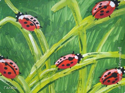 Как,иногда, приятно зимой,ранней весной вспомнить о теплом лете.Божьи коровки,наверное,самые яркие представители этого времени года.И их так легко и интересно рисовать деткам.А всего то надо,найти лист бумаги и гуашевые краски.И так,приступим! фото 33