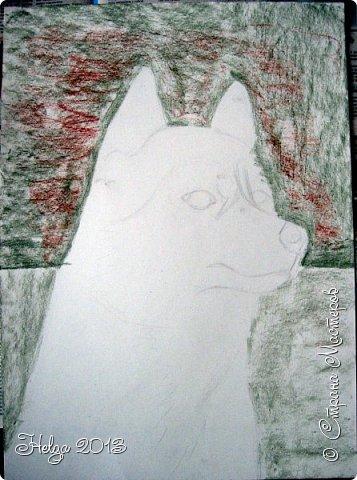 Накопилось много детских работ за разные месяцы, вот часть из них решила показать вам. Творили дети  5,5-7 лет. Первая работа собака породы хаска, рисовали соусом, сангиной, углем, мелом и белой гуашью на листе А3. фото 2
