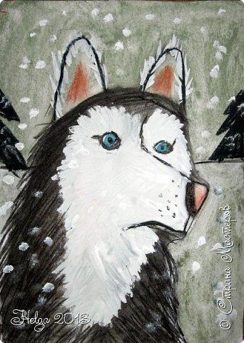 Накопилось много детских работ за разные месяцы, вот часть из них решила показать вам. Творили дети  5,5-7 лет. Первая работа собака породы хаска, рисовали соусом, сангиной, углем, мелом и белой гуашью на листе А3. фото 12