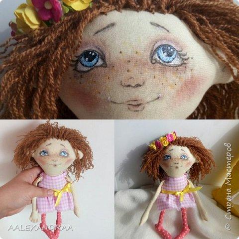 Всем привет! Вот такая куколка у меня сегодня получилась,планировалось сделать её веселой ,смешной.нарисовать просто два глаза и ротик. Но передумала и вот получилось то,что получилось))))) фото 9