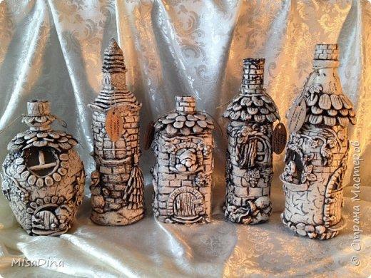 Мои сказочные бутылочки -домики из соленого теста! фото 1
