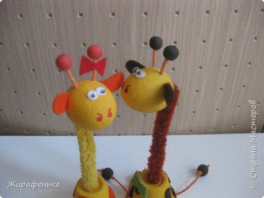 """Этих милых жирафиков я сделала из набора для творчества """" Дружочки из горшочка"""". Одна парочка была подарена моему первому воспитаннику Илюше на 16лет,а другая осталась жить у меня.На фото №2 можно посмотреть как выглядит набор.На последнем фото №9 жираф из пластилина, сделанный Ильёй в 8лет, он долгожитель,напоминает нам о детстве. фото 4"""