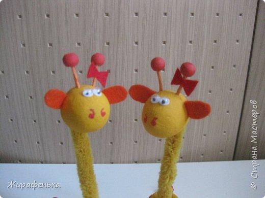 """Этих милых жирафиков я сделала из набора для творчества """" Дружочки из горшочка"""". Одна парочка была подарена моему первому воспитаннику Илюше на 16лет,а другая осталась жить у меня.На фото №2 можно посмотреть как выглядит набор.На последнем фото №9 жираф из пластилина, сделанный Ильёй в 8лет, он долгожитель,напоминает нам о детстве. фото 8"""