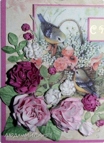 Здравствуй,Страна Мастеров и все её талантливые жители!Попросили сделать открытку одной очаровательной особе,которая очень любит розы .цвет значения не имеет.Вот что у меня получилось.  фото 6
