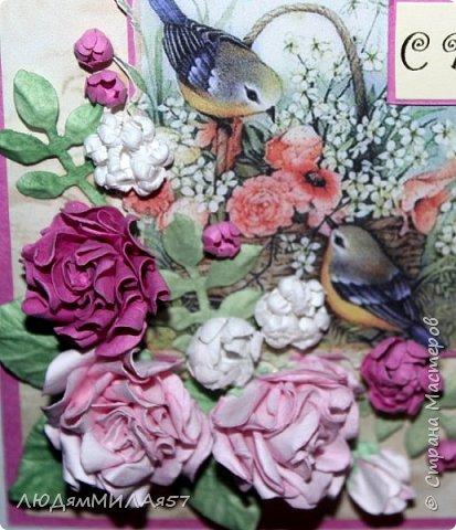 Здравствуй,Страна Мастеров и все её талантливые жители!Попросили сделать открытку одной очаровательной особе,которая очень любит розы .цвет значения не имеет.Вот что у меня получилось.  фото 8