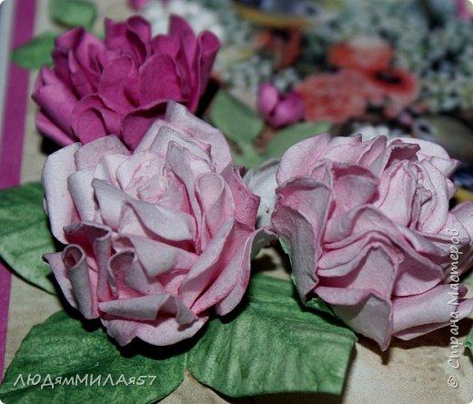 Здравствуй,Страна Мастеров и все её талантливые жители!Попросили сделать открытку одной очаровательной особе,которая очень любит розы .цвет значения не имеет.Вот что у меня получилось.  фото 9