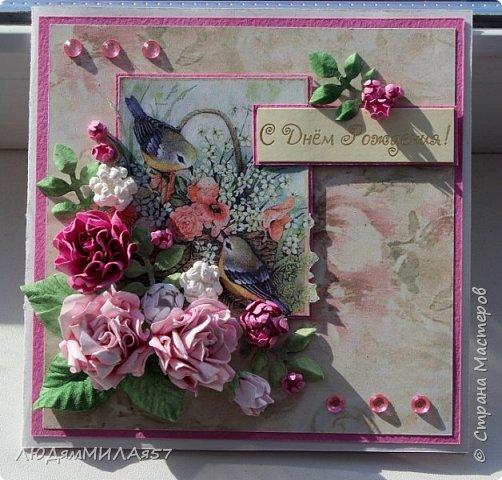Здравствуй,Страна Мастеров и все её талантливые жители!Попросили сделать открытку одной очаровательной особе,которая очень любит розы .цвет значения не имеет.Вот что у меня получилось.  фото 10