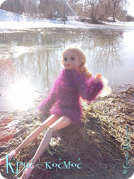 Привет, СМ! Вот я вышла на прогулку и прихватила с собой Алису. На нее связала платье-свитер по МК Мирабелы.  Давайте посмотрим.  фото 1