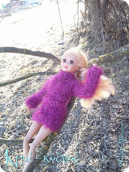 Привет, СМ! Вот я вышла на прогулку и прихватила с собой Алису. На нее связала платье-свитер по МК Мирабелы.  Давайте посмотрим.  фото 6