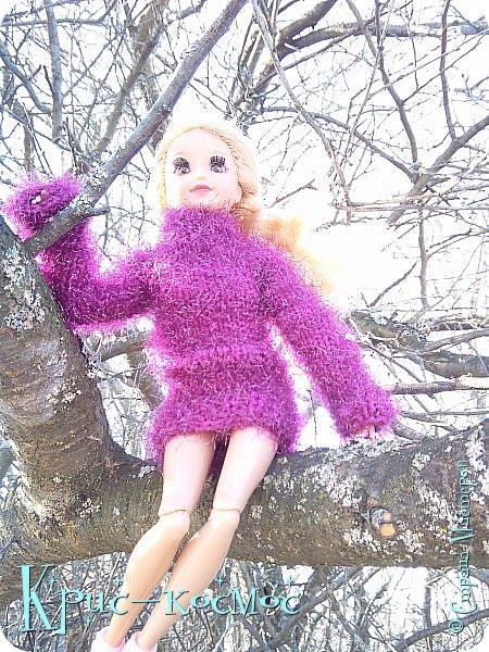 Привет, СМ! Вот я вышла на прогулку и прихватила с собой Алису. На нее связала платье-свитер по МК Мирабелы.  Давайте посмотрим.  фото 10