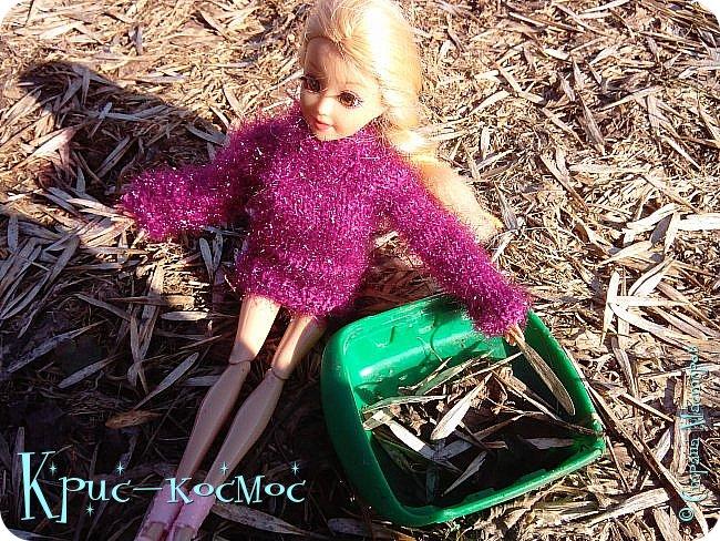 Привет, СМ! Вот я вышла на прогулку и прихватила с собой Алису. На нее связала платье-свитер по МК Мирабелы.  Давайте посмотрим.  фото 14