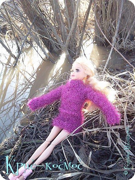 Привет, СМ! Вот я вышла на прогулку и прихватила с собой Алису. На нее связала платье-свитер по МК Мирабелы.  Давайте посмотрим.  фото 30