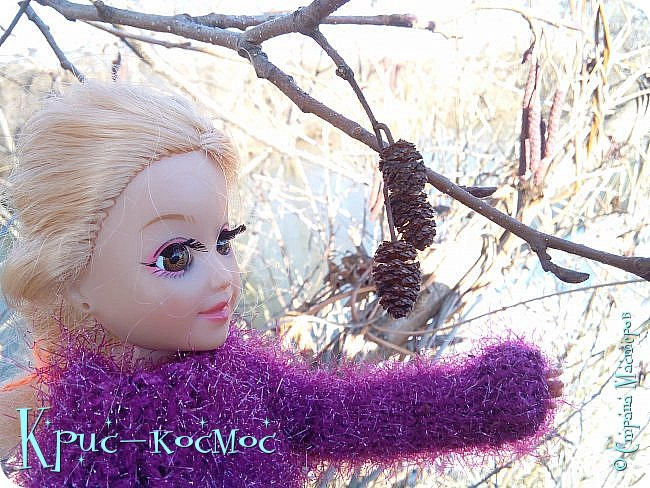 Привет, СМ! Вот я вышла на прогулку и прихватила с собой Алису. На нее связала платье-свитер по МК Мирабелы.  Давайте посмотрим.  фото 36