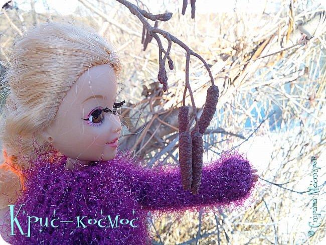 Привет, СМ! Вот я вышла на прогулку и прихватила с собой Алису. На нее связала платье-свитер по МК Мирабелы.  Давайте посмотрим.  фото 37