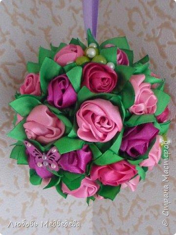 Топиарий, цветочный шар, открытки,конверты и альбомы с цветами из лент, украшения для дочки фото 1