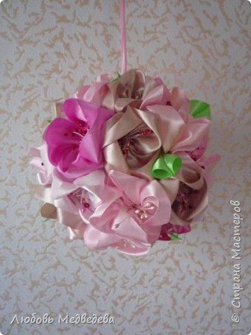 Топиарий, цветочный шар, открытки,конверты и альбомы с цветами из лент, украшения для дочки фото 3