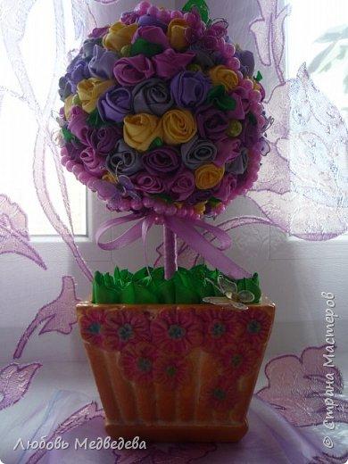 Топиарий, цветочный шар, открытки,конверты и альбомы с цветами из лент, украшения для дочки фото 2