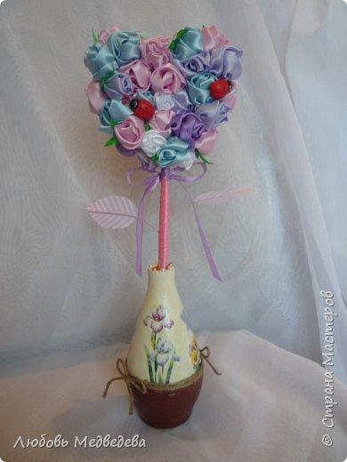 Топиарий, цветочный шар, открытки,конверты и альбомы с цветами из лент, украшения для дочки фото 4