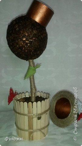 Предлагаю Вашему вниманию кофейное деревце с секретом, скажем, с маленьким тайником для маленького подарка. Или можно назвать по другому - упаковка для подарка)  Вот так выглядит  фото 5