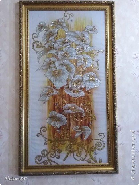 """Картина """"Золотые орхидеи"""" ручной работы, выполненная из страз в технике алмазная вышивка. Оформлена в багет под стекло. Размер 135*75 фото 1"""