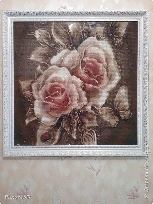 """Картина """"Золотые орхидеи"""" ручной работы, выполненная из страз в технике алмазная вышивка. Оформлена в багет под стекло. Размер 135*75 фото 7"""