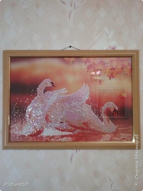 """Картина """"Золотые орхидеи"""" ручной работы, выполненная из страз в технике алмазная вышивка. Оформлена в багет под стекло. Размер 135*75 фото 6"""
