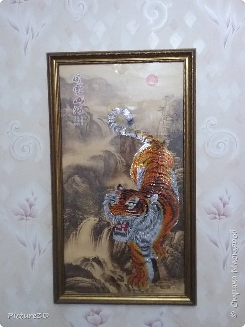 """Картина """"Золотые орхидеи"""" ручной работы, выполненная из страз в технике алмазная вышивка. Оформлена в багет под стекло. Размер 135*75 фото 5"""