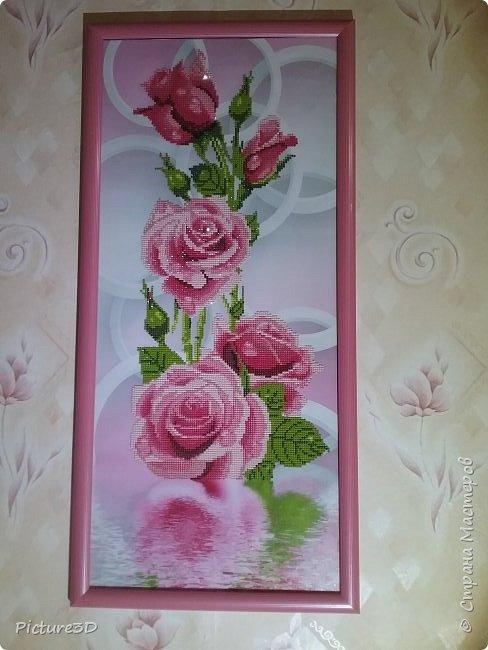 """Картина """"Золотые орхидеи"""" ручной работы, выполненная из страз в технике алмазная вышивка. Оформлена в багет под стекло. Размер 135*75 фото 2"""
