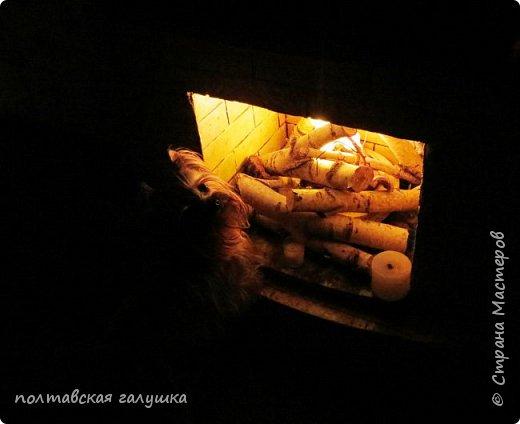 Недавно я сделала подсветку в своем камине   http://stranamasterov.ru/node/1032995  разобрала старую светомузыку и уложила светящуюся часть между дров,каково было мое удивление, когда муж, сидя в командировке спаял -сваял тоже подсветку для нашего камина.Я ему высылаю фото того, что получилось, а он мне то, что вышло у него....причем мы не договаривались, не обсуждали и вообще не поднимали эту тему,  вот, что такое почти 29 лет вместе))  Это фото моего камина  -наконец-то я это сделала ,так все выглядит без вспышки в сумерках и с вездесущей Мишелькой. фото 4