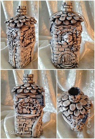 Мои сказочные бутылочки -домики из соленого теста! фото 4