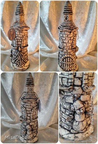 Мои сказочные бутылочки -домики из соленого теста! фото 3