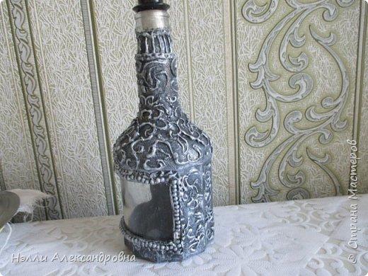 Давно хотелось попробовать имитацию  серебряной чеканки на бутылке фото 2
