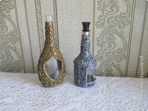 Давно хотелось попробовать имитацию  серебряной чеканки на бутылке фото 5