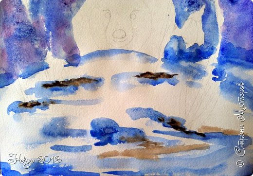 Увидела в интернете картинку с ежиком и подснежниками (автора не знаю), и решила с детьми нарисовать вот такой незатейливый сюжет. фото 7