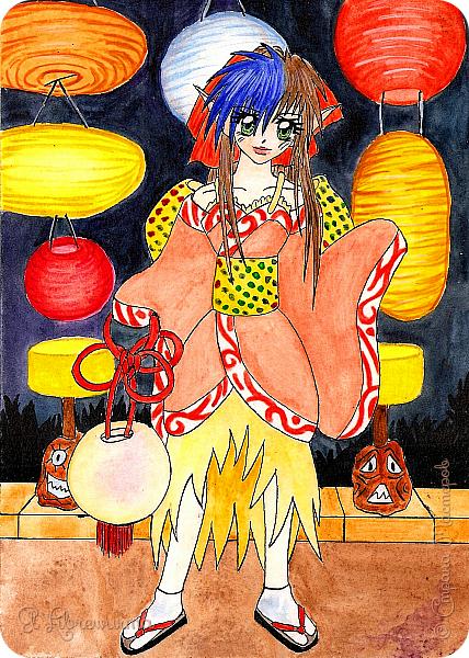 """Раскопала я недавно свои старые залежи рисунков на компе. Рисовать я начала, надо сказать, довольно давно, но с попеременным успехом, во-первых, а во-вторых, оняме давно и безнадёжно проело мой мозг. Наиболее удачными (теми, от которых я не отшатывалась в ужасе от экрана, приговаривая """"свят, свят"""") решила, наконец, похвастаться))) Все персонажи мои придуманные, никаких срисовок также нет) Цветные рисовала тушью или линером, затем раскрашивала акварелью, затем поправляла самые стрёмные косяки на компе. Здесь: А4, акварельная бумага. Это мой основной персонаж с самым обкатанным образом. Фигурировать здесь будет ещё много) фото 3"""