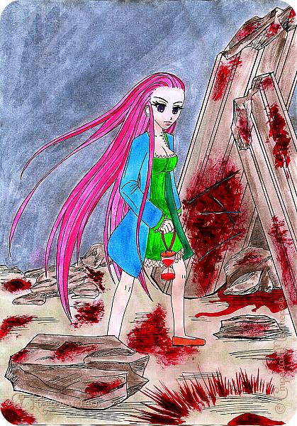 """Раскопала я недавно свои старые залежи рисунков на компе. Рисовать я начала, надо сказать, довольно давно, но с попеременным успехом, во-первых, а во-вторых, оняме давно и безнадёжно проело мой мозг. Наиболее удачными (теми, от которых я не отшатывалась в ужасе от экрана, приговаривая """"свят, свят"""") решила, наконец, похвастаться))) Все персонажи мои придуманные, никаких срисовок также нет) Цветные рисовала тушью или линером, затем раскрашивала акварелью, затем поправляла самые стрёмные косяки на компе. Здесь: А4, акварельная бумага. Это мой основной персонаж с самым обкатанным образом. Фигурировать здесь будет ещё много) фото 15"""
