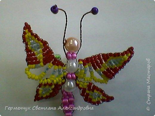 Эту   бабочку- красавицу  из бисера    выполнила  Карина Жулего  . Работа девочки  очень аккуратная,  яркая,  и бабочка получилась как живая !!! Карина ,Браво!!!   фото 4